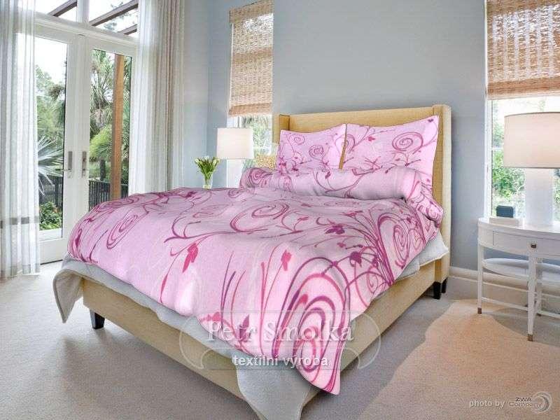 Kvalitné bavlnené obliečky s ružovými kvetinami smolka