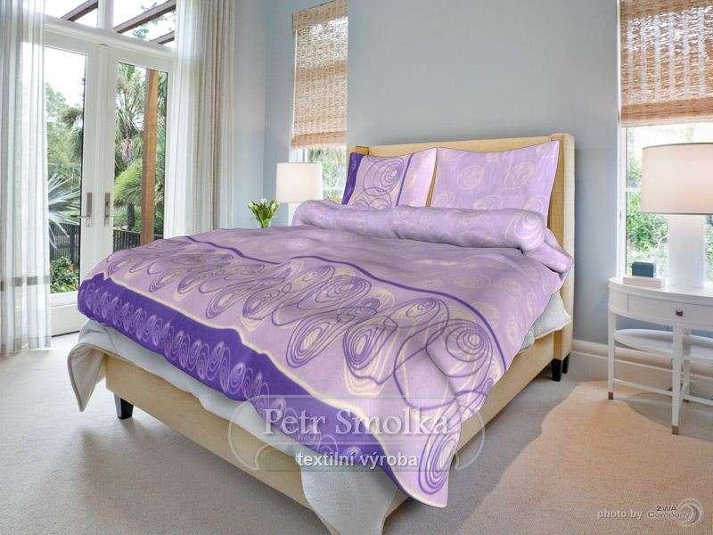Kvalitné bavlnené obliečky s fialovými linkami smolka
