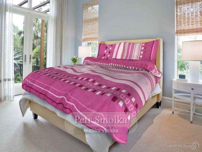 Kvalitné bavlnené obliečky s ružovými prúžkami smolka