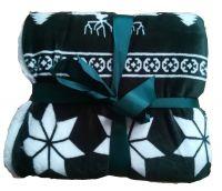 Pekná deka baránok so zimným vzorom Winter zelená   150/200