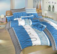 Saténové obliečky s moderným vzorom Evelína modrá Dadka