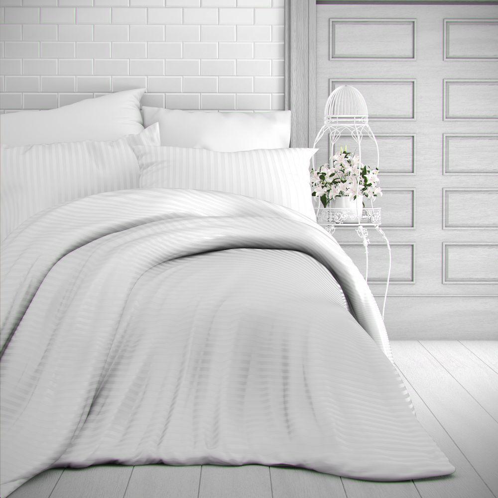 Saténové obliečky bílé s prúžky luxusné. Kvalitex