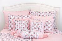 Povlak jednoduchý s drobným vzorom růže ladené do růžovej farby |  Poťah krepový jednoduchý , Poťah bavlnený jednoduchý