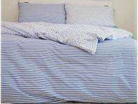 Obliečky sedliackeho štýlu modré pruhy s kombináciou kvietkov   1x 140/200, 1x 90/70, 1x 140/220, 1x 90/70