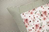 Poťah prešívaný so vzorem růže ladené do zelenej farby | Poťah prešívaný bavlnený, Poťah prešívaný bavlnený s krajkou, Poťah prešívaný krepový , Poťah prešívaný krepový s krajkou