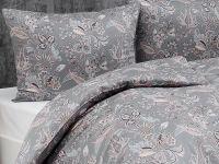 Kvalitné saténové obliečky Florin s romantických vzorom v šedo-púdrové farbe Matějovský