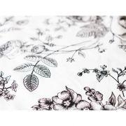 Saténové obliečky 3dielna sada Čierne kvety na bielom podklade