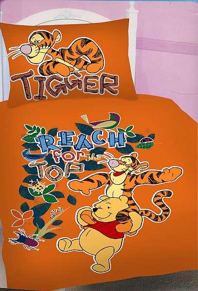 Oranžové obliečky s motívom Medvedíka Pú a Tygra Jerry Fabrics