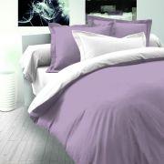 Fialovo biele saténové posteľné obliečky