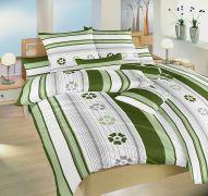 Kvalitné krepové obliečky so zelenými kvetmi a prúžkami Dadka
