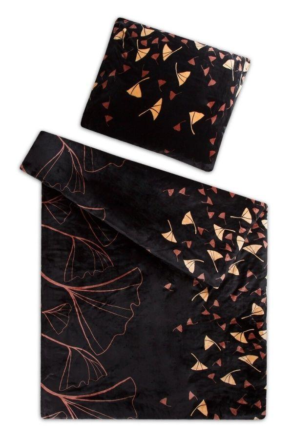 Obliečky mikroflanel Ginkgo čierne Svitap