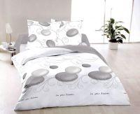 Bavlnené obliečky biele s kombináciou šedých kruhov Kvalitex