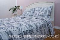 Patchworkové obliečky krepové modré český výrobce