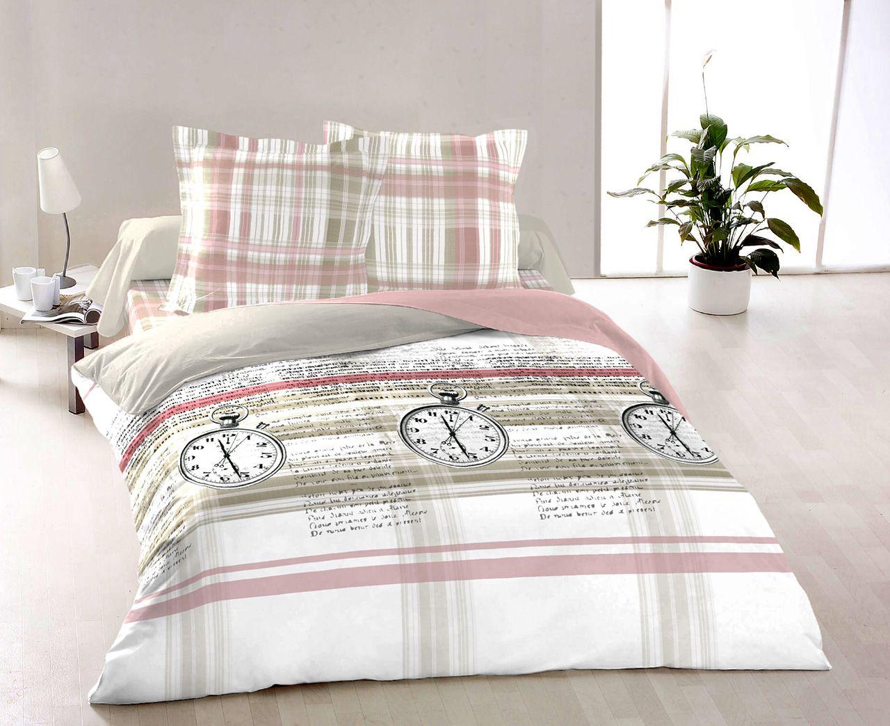 Bavlnené obliečky obojstranné so vzorom hodín Kvalitex