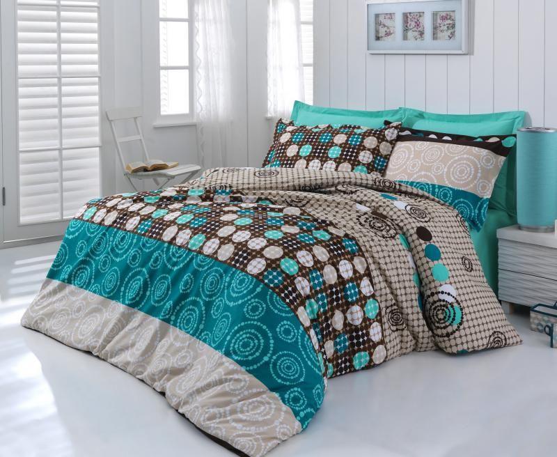 Kvalitné bavlnené obliečky s motívom krúžkov ladené do tyrkysovej farby Kvalitex