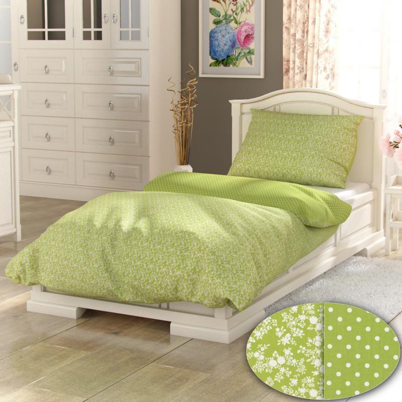Kvalitné bavlnené obliečky s motívom bielych kvietkov na zelenom podklade Kvalitex