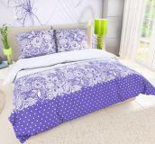 Kvalitné bavlnené obliečky fialovej farby so vzorom bodiek a kvetín Kvalitex