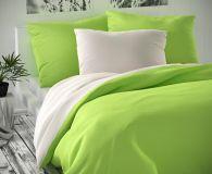 Obliečky saténové zeleno biele luxusné Kvalitex