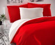 Saténové posteľné obliečky červeno biele luxusné Kvalitex