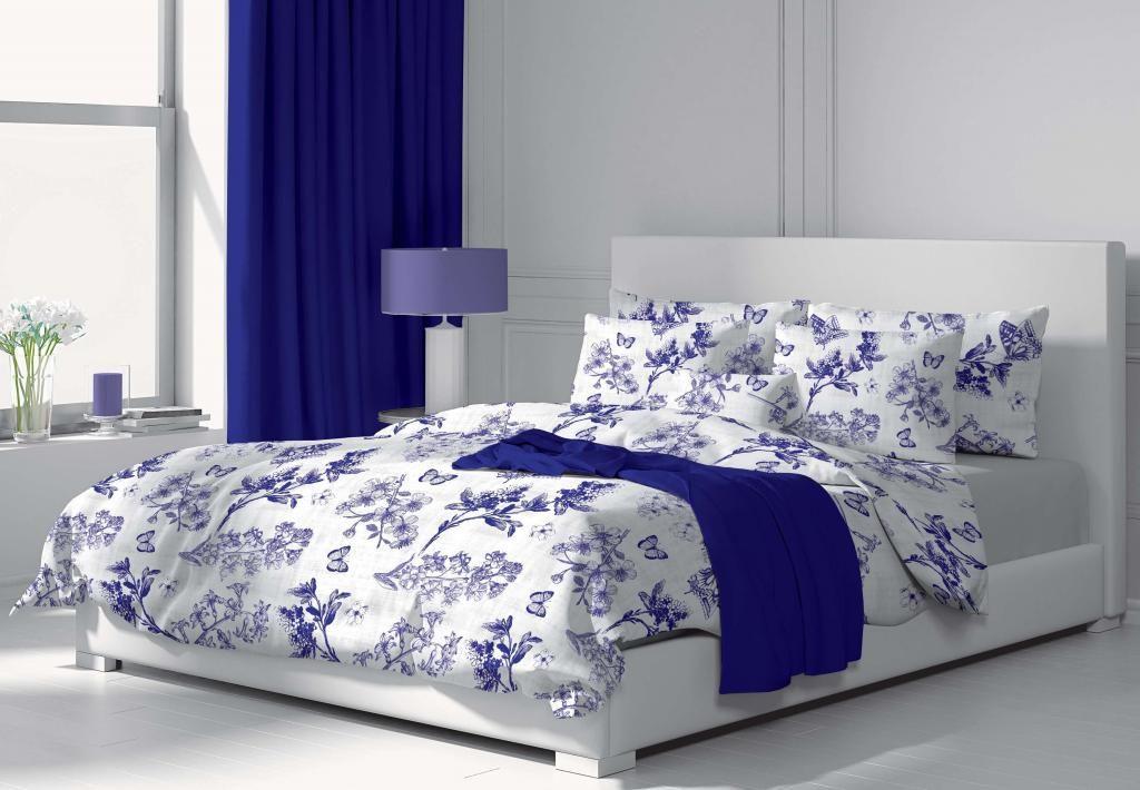 Bavlnené obliečky modro-biele s kvetinovým vzorom Kvalitex
