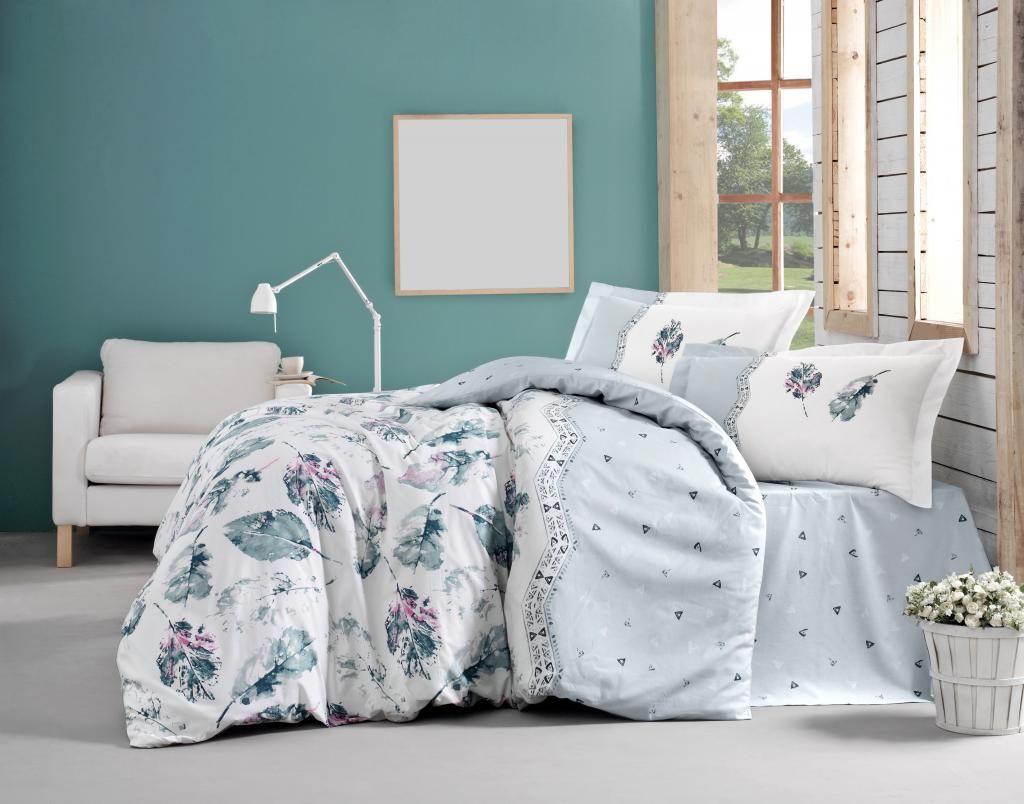 Bavlnené obliečky jemného prírodného vzoru vo farbách zelenej a bielej Kvalitex