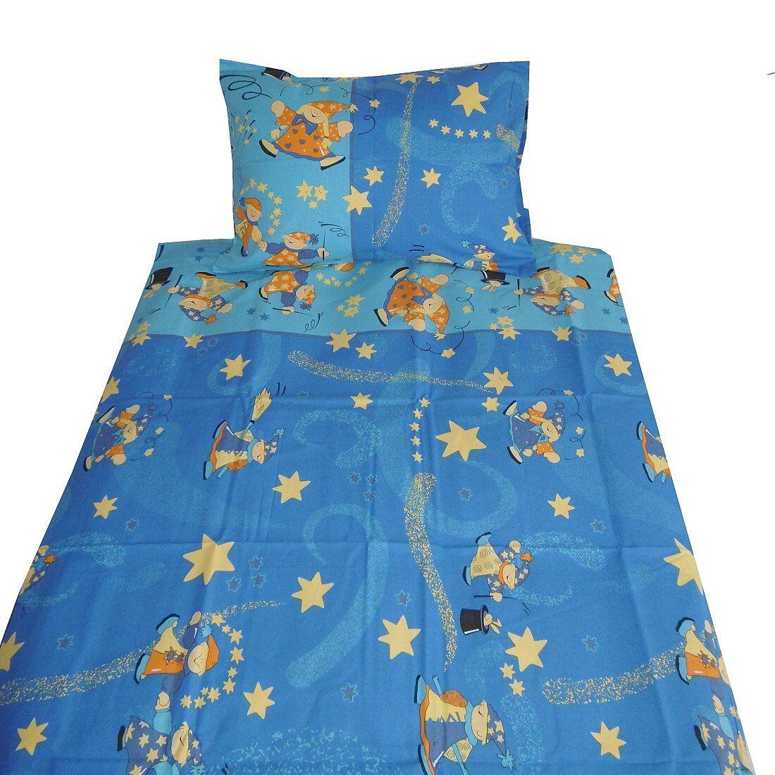Pekné bavlnené obliečky s kúzelníkom v modrej farbe Dadka