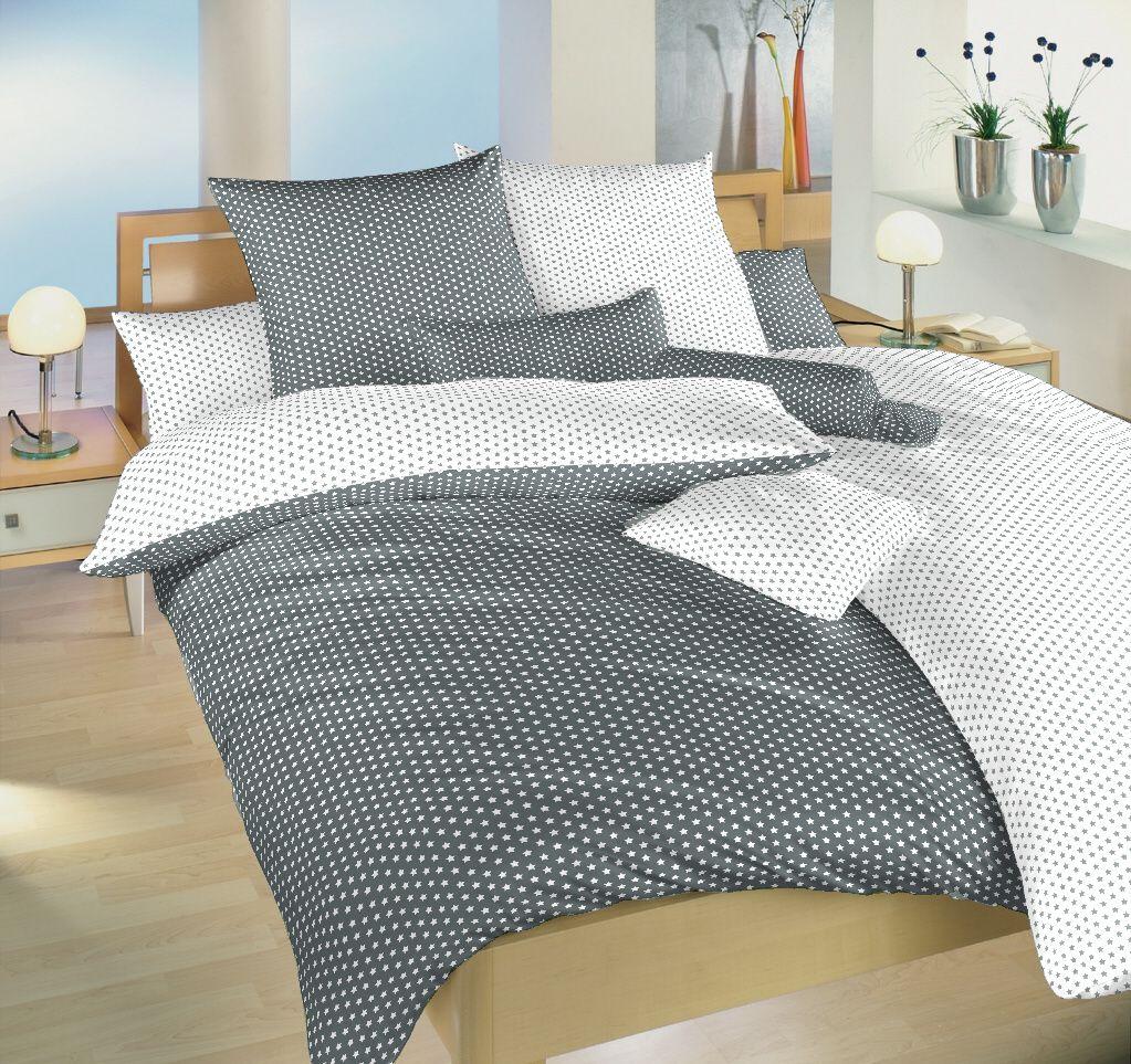 Luxusné obliečky v bavlne s motívom hviezdičiek bielej a šedej farby Dadka