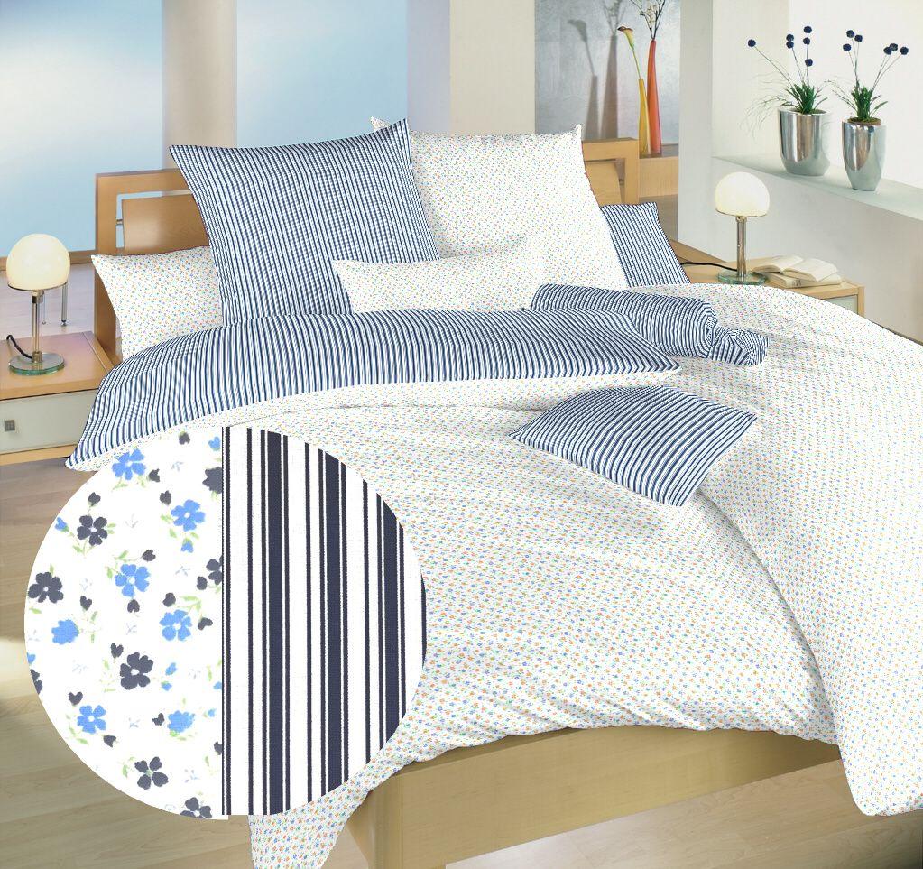 Bavlnené obojstranné obliečky s motívom drobných kvetín a prúžkov modrej farby Dadka