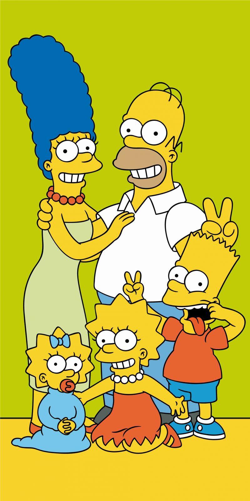 Osuška pre deti s motívom rodiny Simpson na zelenom podklade Jerry Fabrics