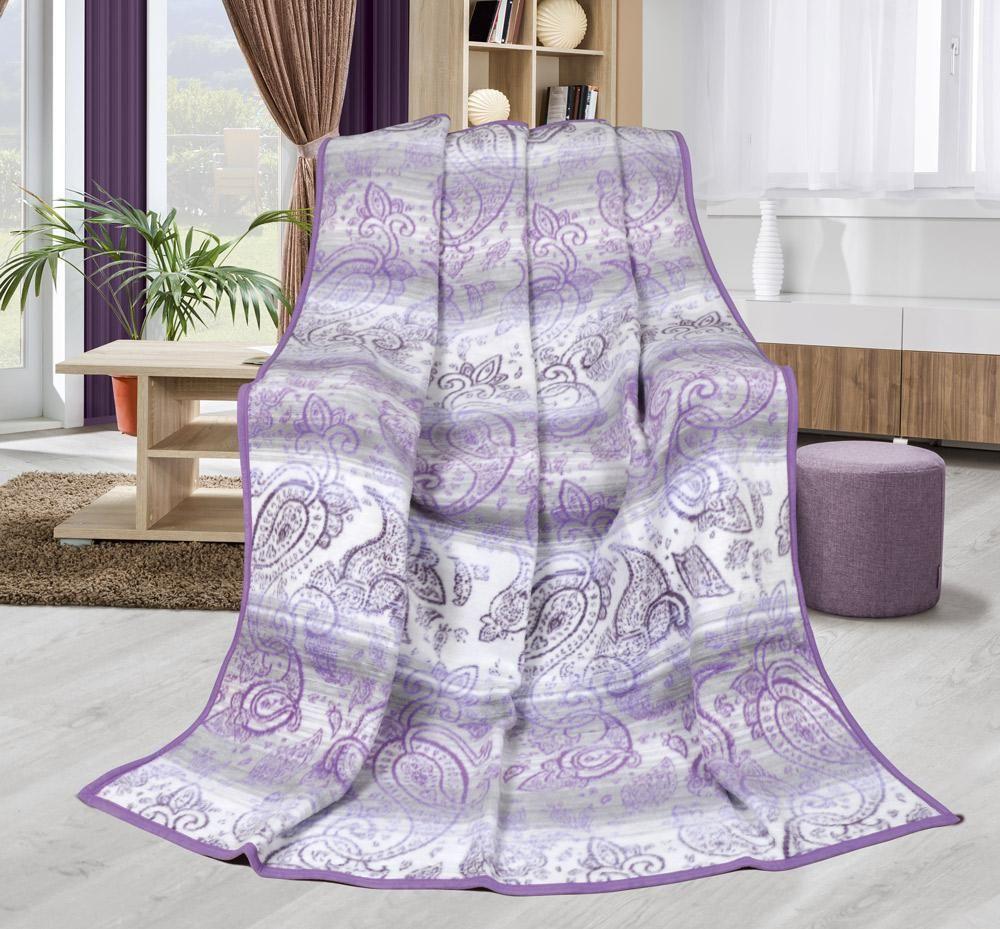 Hrejivá vzorovaná deka kašmír fialovej farby