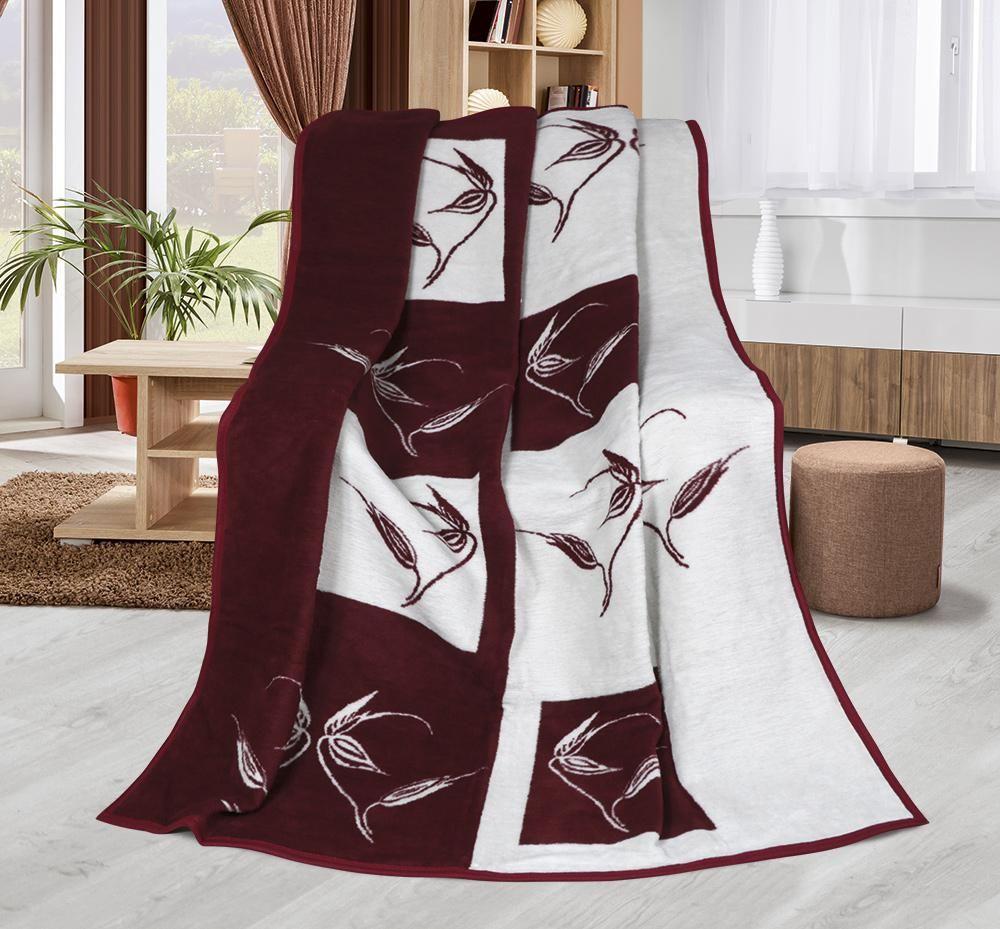 Hrejivá deka so vzorom rastlín vínovej a smotanovej farby - Rastliny vínové