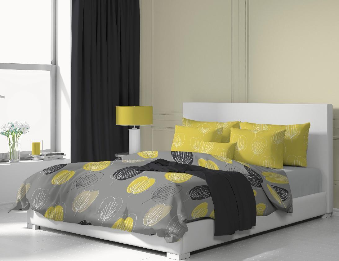 Krásne obliečky s motívom žltých a čiernych kvetín na šedom podklade Kvalitex
