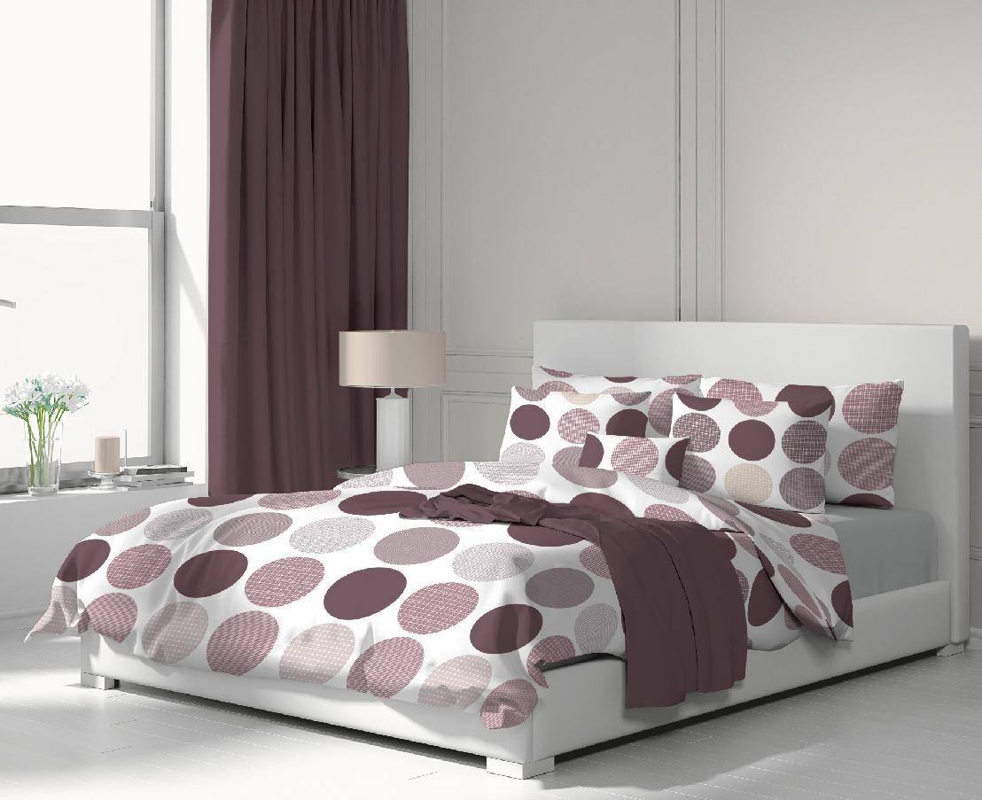 Krásne romantické obliečky s motívom fialových kruhov na bielom podklade Kvalitex