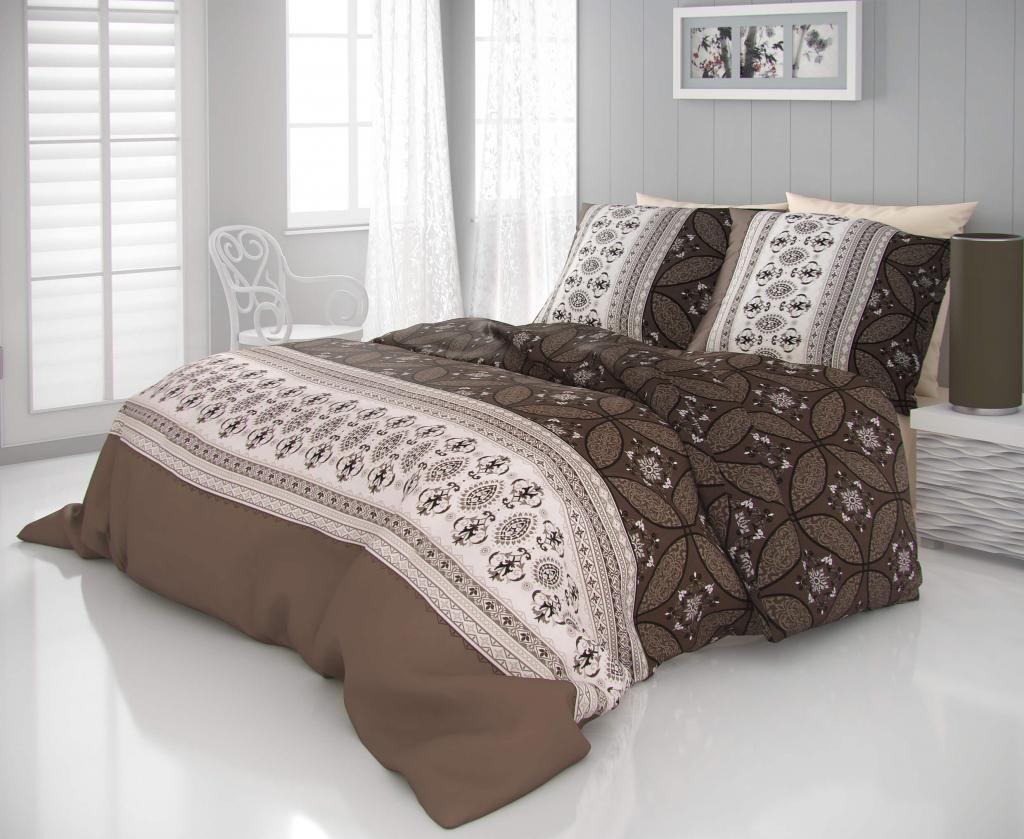 f8d5f5bf3 Pekné saténové obliečky s luxusným motívom v hnedej farbe Kvalitex