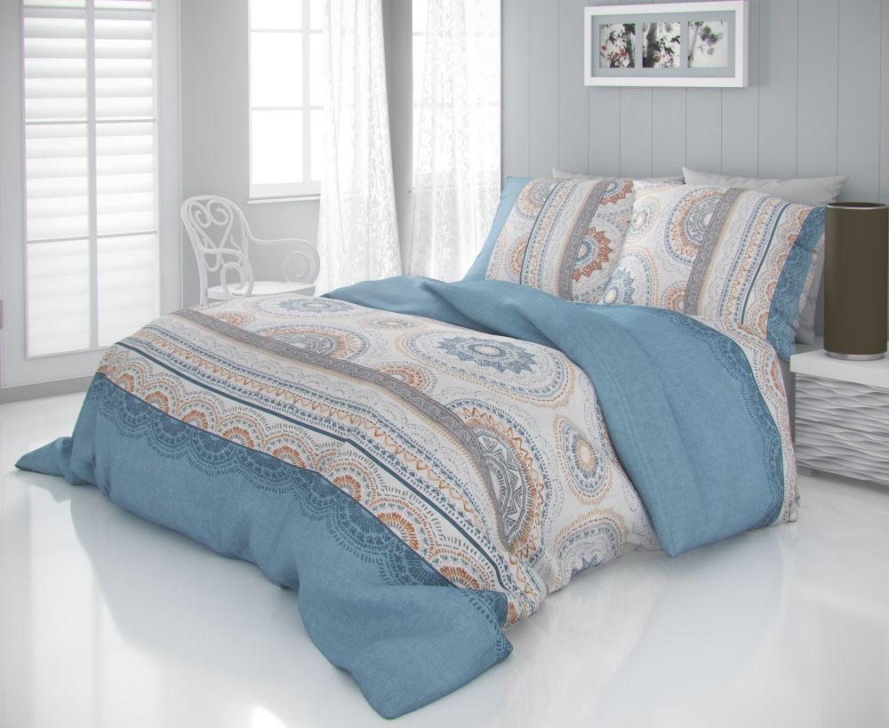 Luxusné saténové obliečky s ornamentov v modrom prevedení CARMELA béžová Kvalitex