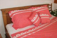 Bavlnené obliečky červené kocka kanafas   1x 140/200, 1x 90/70, 1x 140/220, 1x 90/70