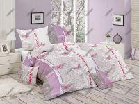 Bavlnené obliečky s romantickým motívom ladené do ružovo-fialovej farby   1x 140/200, 1x 90/70