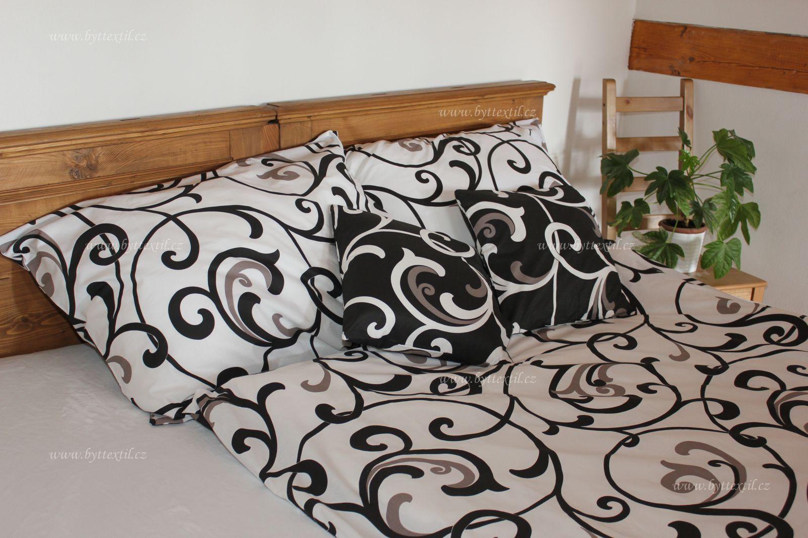 Bavlnené obliečky biele s ornamentmi Dark český výrobce