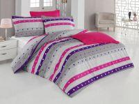 Krepové obliečky šedé so vzorom štvorčekov na ružovom či fialovom prúžku   1x 140/200, 1x 90/70