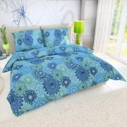 Krepové obliečky s kruhmi pripomínajúcimi kvety na modrom podklade   1x 200/200, 2x 90/70