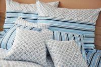 Bavlnené obliečky modrej farby s motívom ornamentov a prúžkov   1x 140/200, 1x 90/70