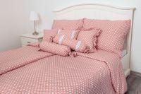 Obliečky vidieckeho štýlu ružovej farby s motívom bodiek   1x 140/200, 1x 90/70