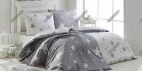 Flanelové obliečky so vzorom hviezd v šedej a bielej farbe   1x 140/200, 1x 90/70