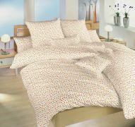 Bavlnené obliečky s motívom drobných kvetov oranžovo-bielej farby Kvetinky oranžové   1x 140/200, 1x 90/70