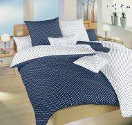 Luxusné bavlnené obliečky s motívom bodiek na bielom a tmavo modrom podklade   1x 140/200, 1x 90/70