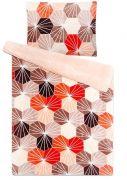 Mikroflanelové obliečky s mozaikovým vzorom červenej a béžovej farby | 1x 140/200, 1x 90/70