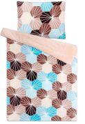 Mikroflanelové obliečky s mozaikových vzorom tyrkysovej a béžovej farby | 1x 140/200, 1x 90/70