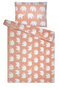 Hrejivé obliečky z mikroflanelu s motívom slonov na ružovom podklade | 1x 140/200, 1x 90/70